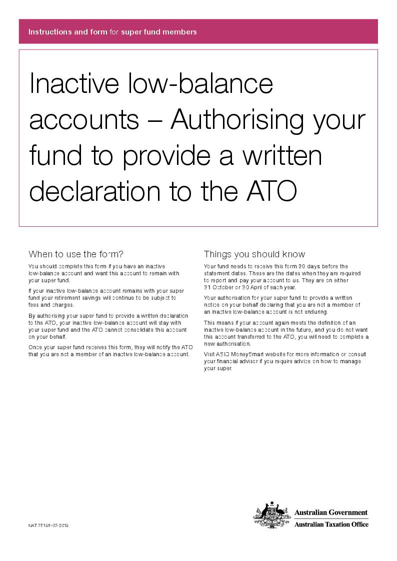 Thumbnail for preview of Inactive low-balance accounts – Authorising your fund to provide a written declaration to the ATO form